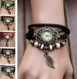Wholesale S Color Fashion Quartz Weave WRAP Around Leather Bracelet Lady Woman Wrist Watch