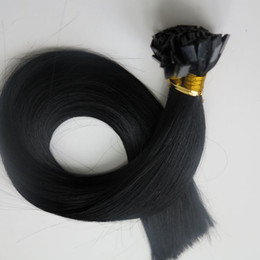 Pre Bonded Flat Tip human Hair Extensions 100g 100Strands 18 20 22 24inch #1 Jet Black Brazilian Indian Keratin Hair products