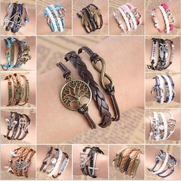 Wholesale Vintage Weave Anchors Rudder Love Owl Birds Leaves Tree Artificial Heart Rope Charm Artificial Leather Bracelet B509 B522