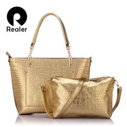 Wholesale-New brand Realer women leather gold bags handbags women famous brands silver crocodile bag ladies large tote bag