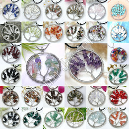 Wholesale Natural Gem Stone Gravel Beads Round Tree Of Life Winding Reiki Pendulum Pendant Charms Energy Health Amulet Numen Classic Jewelry Mix