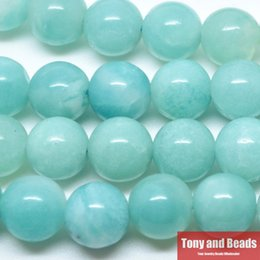 Wholesale Natural Stone Aqua Amazonite Round Loose Beads cm Strand MM Pick Size For Jewelry Making No SAB16