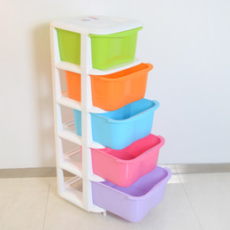 Five-drawer plastic storage cabinets lockers, children's bedroom closet candy colored baby clothing organization