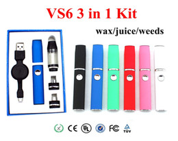 Vape pens VS6 3in1 wax wax vaporizer pen dry herb kit with 650mah battery Portable wax dry herb vaporizer kit