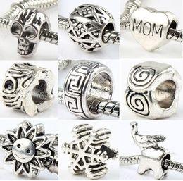 Wholesale 140styles Silver Big Hole Beads for European Charm Bracelets ilia Biagi Bracelets Metals Loose Beads Jewelry DIY
