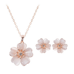 Flower Necklace Earrings Jewelry Sets Fashion Newest Opal Wedding Jewelry Set For Women Best Gift CAL21057A