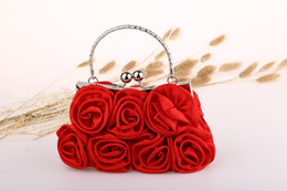 Wholesale Satin Roses Handbag - High Quality Custom made Little Bridal Handbags Elegant Rose Flowers Hand Made Satin Clutches Women Party Evening Handle Bags Money WWL