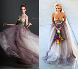 Wholesale 2015 Spring Summer Sequined Sweetheart Tulle A line Court Train Beach Wedding Dresses Simple Cheap Wedding Gowns Purple Theme Wedding Dress