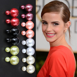 Wholesale HOT Double sided Pearl Earrings big candy ball Stud Earings Beautiful model star Fashion brand Jewelry for Women girls CC C