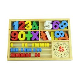 Cajas de madera relojes en venta-A estrenar Niño de madera juguetes educativos / bebé multifuncionales digitales de aprendizaje Box bloques de aseo gratuitos para bebés Juguetes de la matemáticas 1set