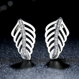Romantic Shimmering Feathers 925 Sterling Silver Stud Earrings with Clear CZ Valentine's Day Gift ER025