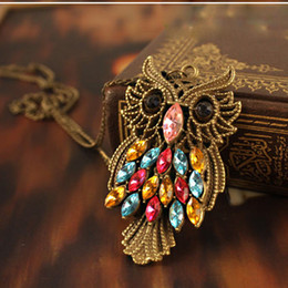 Black Eye Vintage Owl Necklaces Long Sweater Chain Owl Necklace &Pendants Bronze Hollow Out Colorful Rhinestone Fashion Women Jewelry