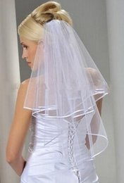 Wholesale 2015 Tulle White Wedding Veils Bridal Two Layer Ribbon Edge Custom Made Bridal Accesories Cheap In Stock