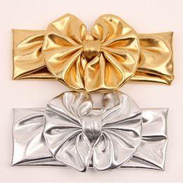 Gold Shinny Baby Girls Headband Baby Headbands Flower Headwraps For Kids Peasant girls headwraps 10pcs lot