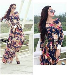 Maxi Dress Long Dress Maxi Dress Fashion Womens Elegant Flora Print and Long Sleeve Long Dress Hot Womens Waist and Slim Skirt
