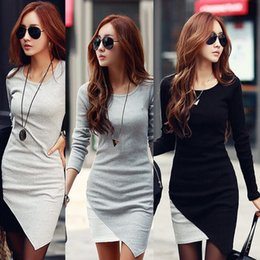 New Women Dress 2014 Autumn Winter Dresses Plus Size Elegant Long Sleeve Patchwork Fold Bodycon Hip Casual Lady Work Wear C118