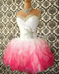 Wholesale 2015 Hot Sale Pink And White Cute Homecoming Dresses Ball Gowns Corset tie Back Graduation Gowns Short Prom Dress Cocktail Gowns No Sleeve