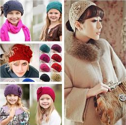 24 Colors Korean Women Camellia flowers Crochet Headbands European Style Ladies Fashion Warmer Knitted Hair band Girls Vintage Hair Jewelry