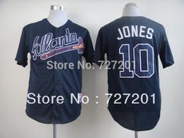 Wholesale New Brand Men s Baseball Jerseys Atlanta Braves Chipper Jones Blue Baseball Jersey Stitched Mix Order
