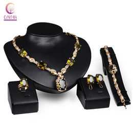 African Beads Jewelry Set Gold Plated Emerald Purple Gem Austrian Crystal Women Wedding Necklace Bracelet Earring Ring Party Set