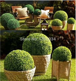 Wholesale 2 pc CM ARTIFICIAL BALL TREE BOXWOOD TOPIARY BALL OUT IN DOOR FAUX BUXUS BALLS HOUSE HOME PARTY OFFICE DECOR Scene