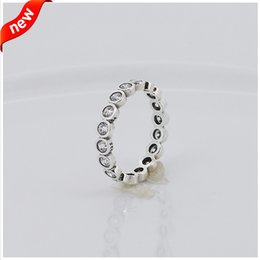Compatible with Pandora jewelry rings large round silver rings with zircon 100% 925 sterling silver jewelry wholesale DIY