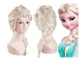 Free Hair Cap+ Halloween Princess Frozen Snow Queen Beige Elsa Wig Snow Queen Cosplay Convention Costume Wigs