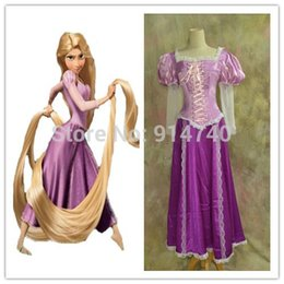 Wholesale 2015 Adult Beautiful Rapunzel Costume Princess Dress Cosplay Christmas Halloween New Year Stage Performance Costumes for women