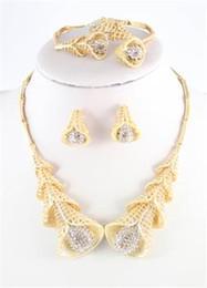 African Dubai Wedding Jewelry Set Fashion 18K Gold Plated Morning Glory Crystal Necklace Bangle Ring Earring Set
