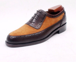 Men Dress shoes Oxfords shoes Men's shoes Custom handmade shoes Genuine leather Color brown Suede matching HD-083