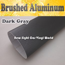 Wholesale High Quality Brushed Deep Grey Vinyl Film For Car Wrapping Air Bubble Free FedEx Size M Roll