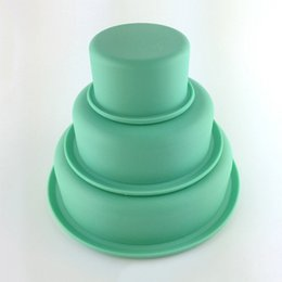 Wholesale 3 Layer Silicone Cake Mold Handmade Cake Pizza Plate DIY Mould Art Craft Ornaments Decoration Molds Bakeware Baking Tools JE0102 Salebags