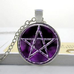 R0012 Bestselling purple Pentagram Wicca Pendant Necklace Japan Wiccan Jewelry Occult Charm necklaces