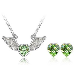 Angle Heart Necklace Earrings Sets 18k White Plated Fashion Jewelry For LOVER Alloy Jewelry Sets SET-00035