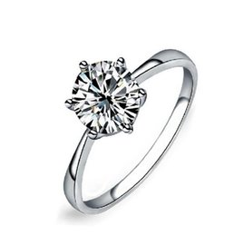 Never fading 1carat 6claws large simulated diamond Rings women 18K white gold filled 925 silver Engagement alliance USA size CZ wedding Ring