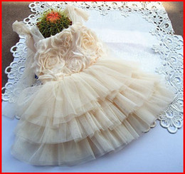 Wholesale 2016 robe en mousseline de soie Summer Girls bretelles D Rose Floral Filles jarretelle Fleurs Dentelle Tiered Gauze Soirée Forma Princesse TuTu Baby Dress