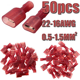 Wholesale 50pcs Female Male Spade Red Models Nylon Insulated Terminals Electrical Crimp Connector AWG mm2 High Quality