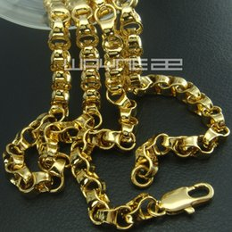 18k yellow gold GF curb rings link solid mens women long necklace N247