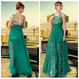 Wholesale Hunter Green Lace A Line Prom Dresses Beaded Crystal Backless Sheet Neck Scoop Neck Custom Formal Evening Party Gowns