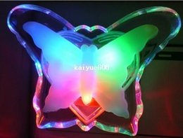 Free Shipping 20pcs Eco-friendly Led small butterfly night light child bedroom bedside lamp baby lamp wall lamp plug and play