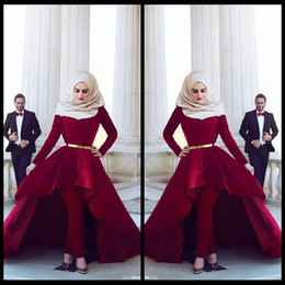 Red Velvet Muslim Wedding Dresses Long Sleeve Fashion Hijab With Pants 2020 New Style Bridal Wedding Gowns On Waist Sash
