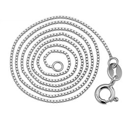 100% 925 Sterling Silver Box Chain Necklace for Women Men Silver Jewelry High Quality Free Shipping