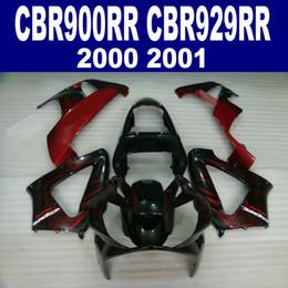 Customize motorcycle fairings for HONDA CBR929 2000 2001 red flames in black fairing kit CBR 929 RR CBR900RR HB3