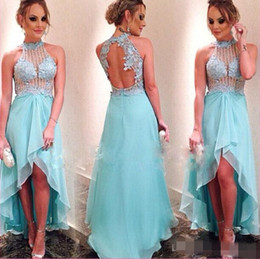 High Neck Prom Dresses Hi-Lo Gowns 2019 Light Sky Blue Party Dresses Backless High Low Dresses Evening Wear with Beaded Lace
