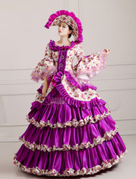 luxury purple ruffled flower ball gown with hat medieval dress renaissance Gown queen Dress Victorian Marie Antoinette Colonial Belle Ball