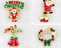 Wholesale Christmas brooches pins gold plate Christmas tree snowman Santa Claus jingle bells brooch tie pin scarf hat bag accessories women party gift