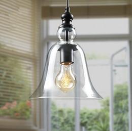 Wholesale Antique Vintage Style Glass Shade Ceiling Light Pendant Lamp Fixture American modern Loft crystal bell pendant light