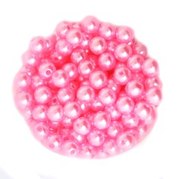 Wholesale Pink Color ABS Faux Pearl Beads mm mm mm mm Round Acrylic Plastic Spacer Loose Beads For Necklace Bracelet Jewelry Macking DIY Craft