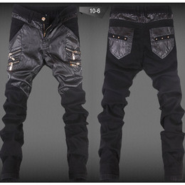Hot sale New Arrival Men's Skinny Leather Stitching Pants Faux Leather Zipper Cool Trousers Free Shipping