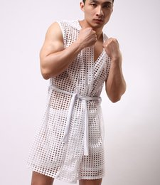 Wholesale Sexy Bathrobes nightclothes sleeveless mens hooded robe slim clothes net mesh boys cute gauze home gay male sex cute see through clothing